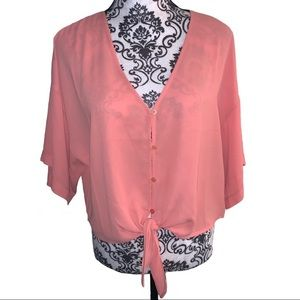 Forever 21 sheer pink knot blouse - Medium